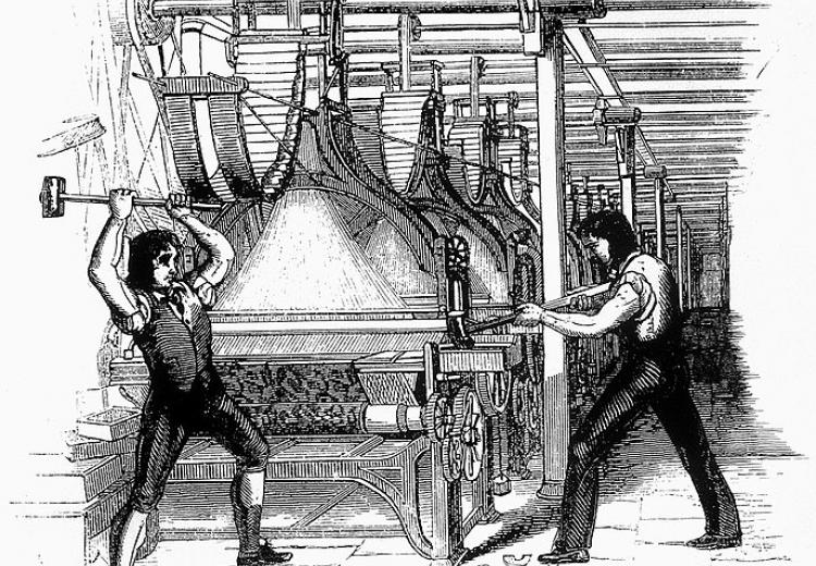 An engraving of two workers destroying a mechanized loom.