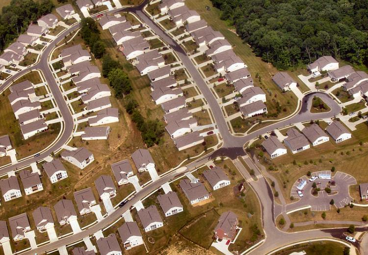 Tract housing near Union, Kentucky from the air, ca. 2005.