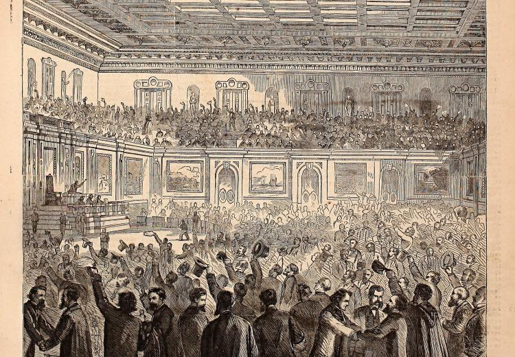 Harper's Weekly cartoon depicting celebration in the House of Representatives after adoption of the Thirteenth Amendment, February 18, 1865.