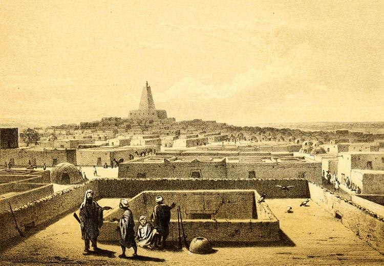 Timbuktu from the terrace of the traveller's house in 1858.