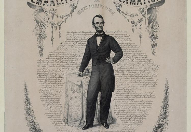 Portrait of President Abraham Lincoln surrounded by the words of the Emancipation Proclamation (1863).