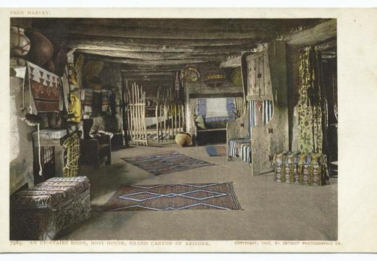 An upstairs room in a Hopi house, Grand Canyon, Arizona.