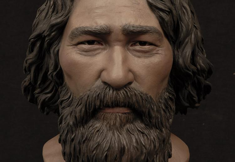 Sculpted bust of Kennewick Man by StudioEIS with Jiwoong Cheh; based on forensic reconstruction by Amanda Danning.