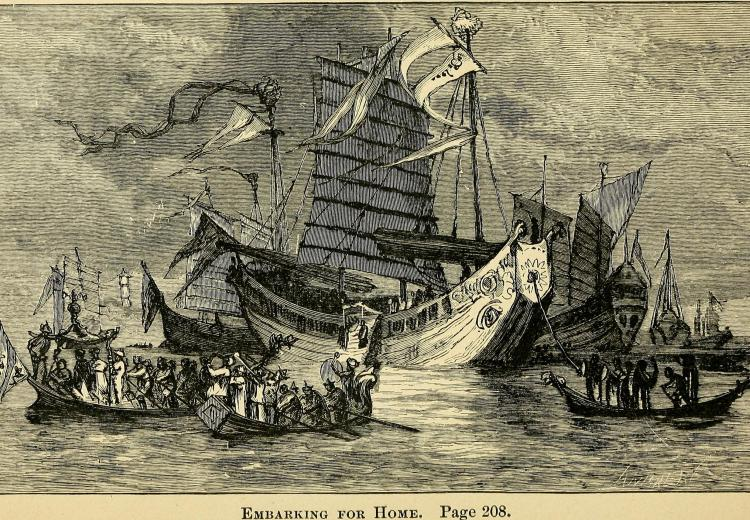 """Embarking for Home,"" from Marco Polo: His Travels and Adventures, published in 1880."
