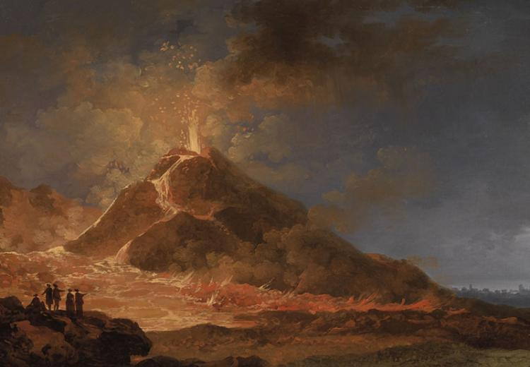 This painting represents the eruption of Mt. Vesuvius in 79 AD.