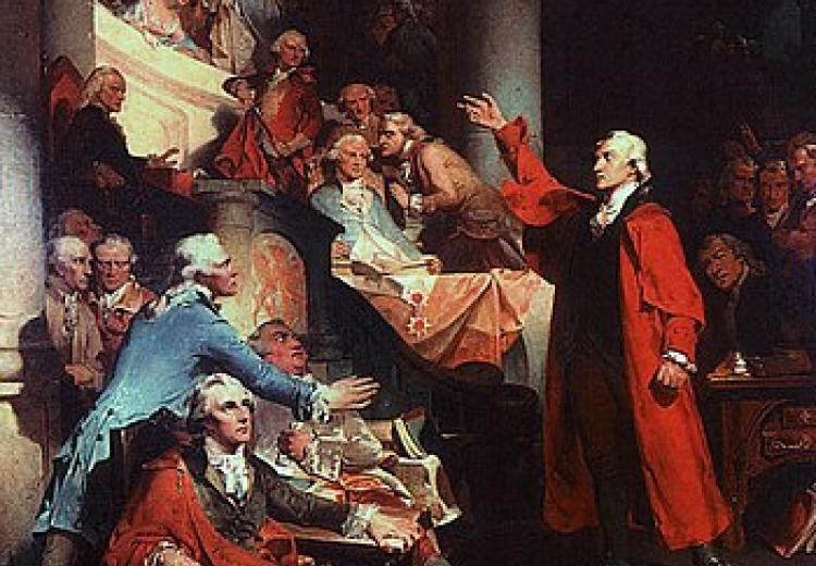 Patrick Henry, an anti-federalist, speaking in the Virginia House of Burgesses, May 1765.