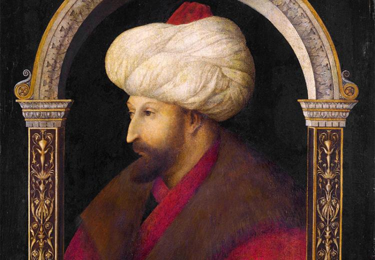 The Portrait of Ottoman Sultan Mehmed the Conqueror by İtalian painter Gentile Bellini, 1480.