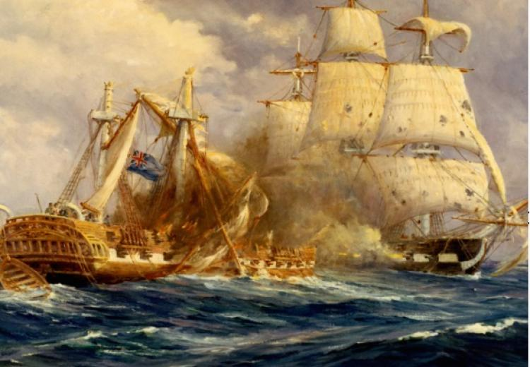 Painting by Anton Otto Fischer depicting the first victory at sea by USS Constitution over HMS Guerriere.
