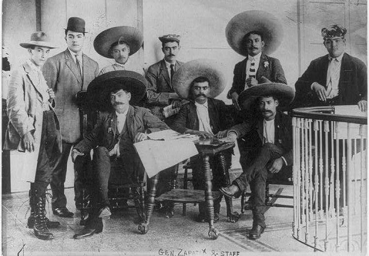 General Emiliano Zapata and his staff in Mexico City, 1911.