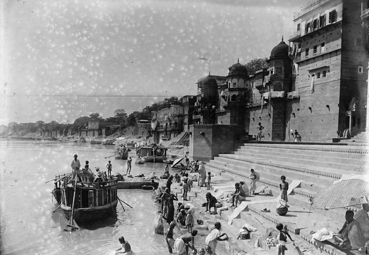 Bathing in the Ganges, India. A 19th-century photograph.