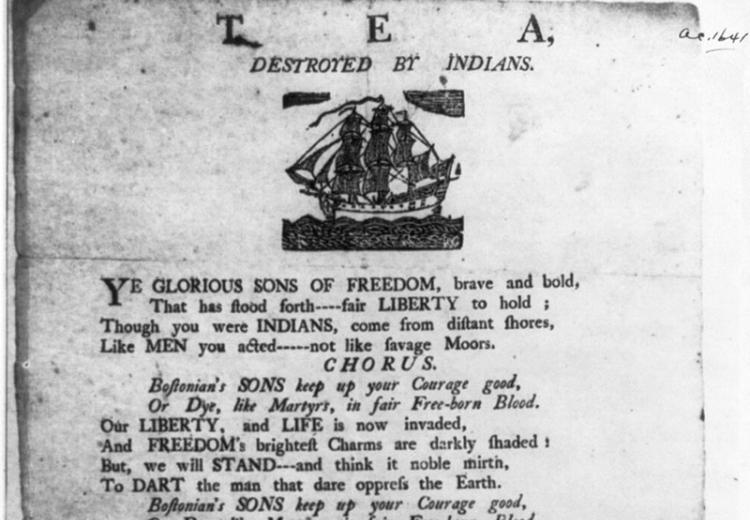 Poem honoring the Boston Tea Party, Dec. 1773.