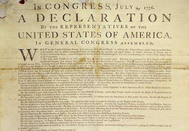 The first printed version of the Declaration of Independence by John Dunlap of Philadelphia.
