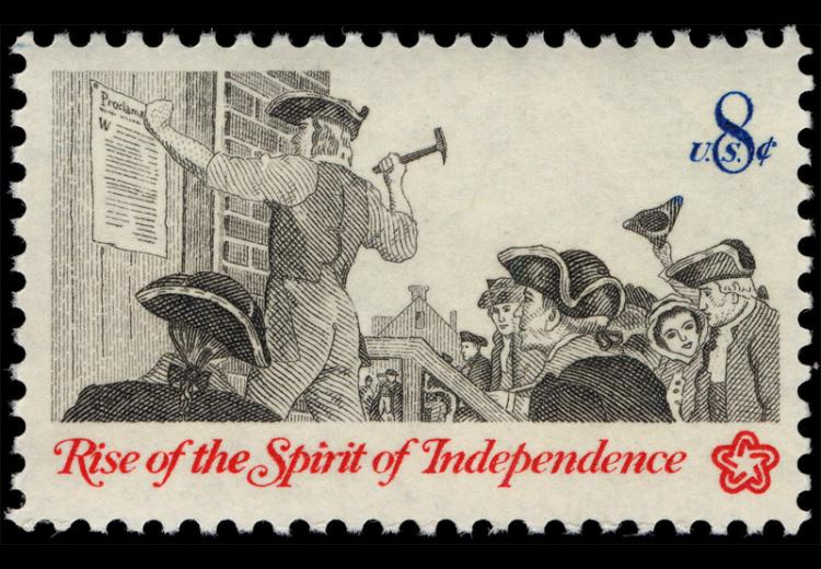 The 8-cent Posting Broadside commemorative stamp was first placed on sale at Atlantic City, New Jersey, on April 13, 1973.