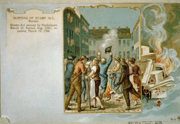 A postcard from 1903 depicting colonists protesting the Stamp Act of 1775.