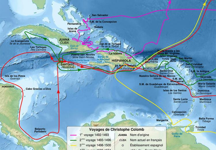 Map of Christopher Columbus voyages, between 1492 and 1504.