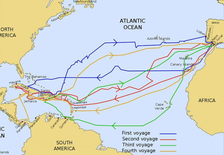 The routes of the four Voyages of Christopher Columbus.