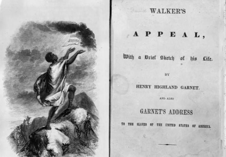 Title page and frontispiece of the 1830 edition of David Walker's Appeal.