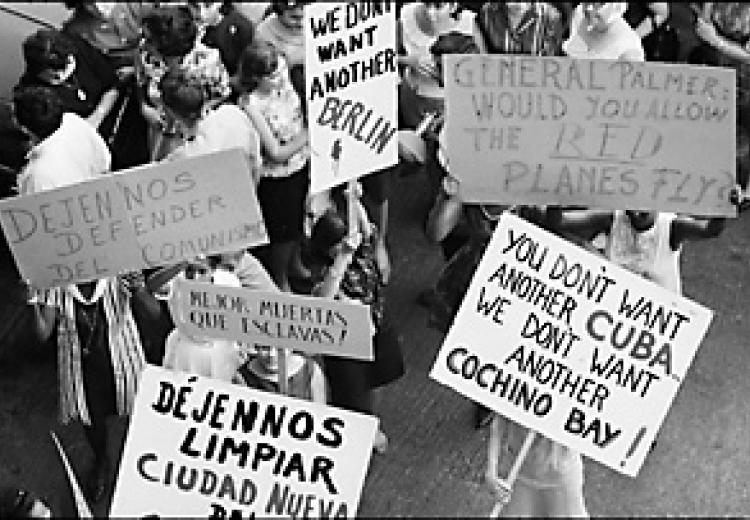 Women marchers and signs in front of Ambassador Hotel, Santo Domingo, Dominican Republic, 1965.