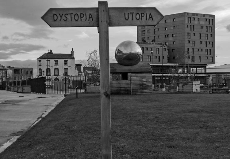 Dystopia /Utopia sign in Brewery Green, Leeds.