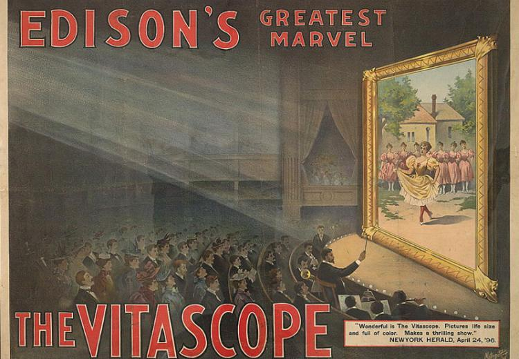 Edison's greatest marvel: The Vitascope, Color lithograph, c. 1896.