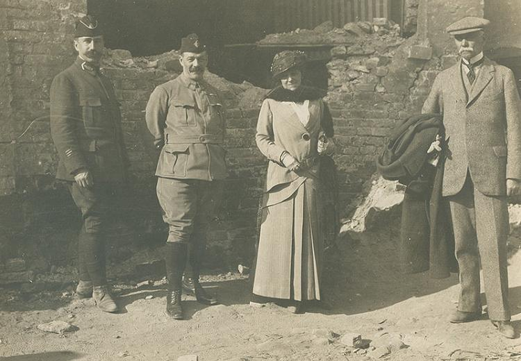 American author Edith Wharton, shown here with French soldiers and friend Walter Berry, was a correspondent for Scribner's Magazine during World War I.