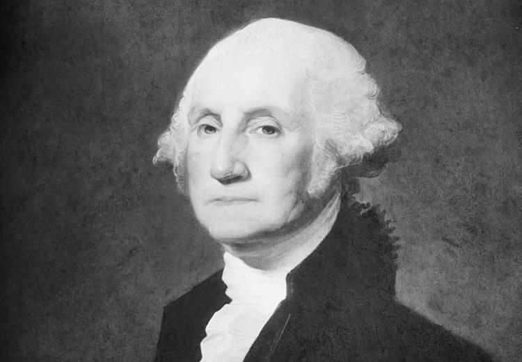 Portrait of George Washington, painted by Gilbert Stuart.