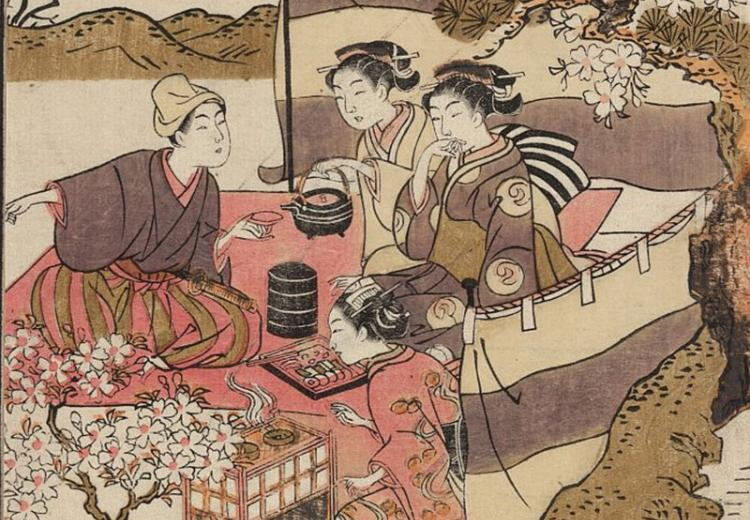 Print shows three women and a man having a small tea party beneath blossoming cherry trees.