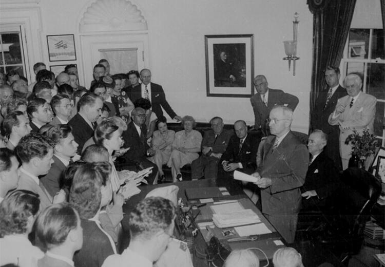 At the White House, President Truman Announces Japan's Surrender.