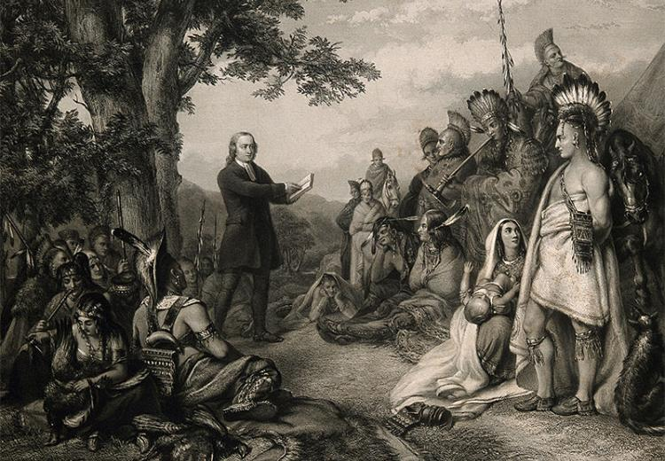John Wesley preaching to American Indians