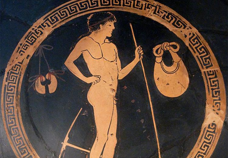 The kylix depicting pentathletes is an example of pottery and decoration from the late Archaic period