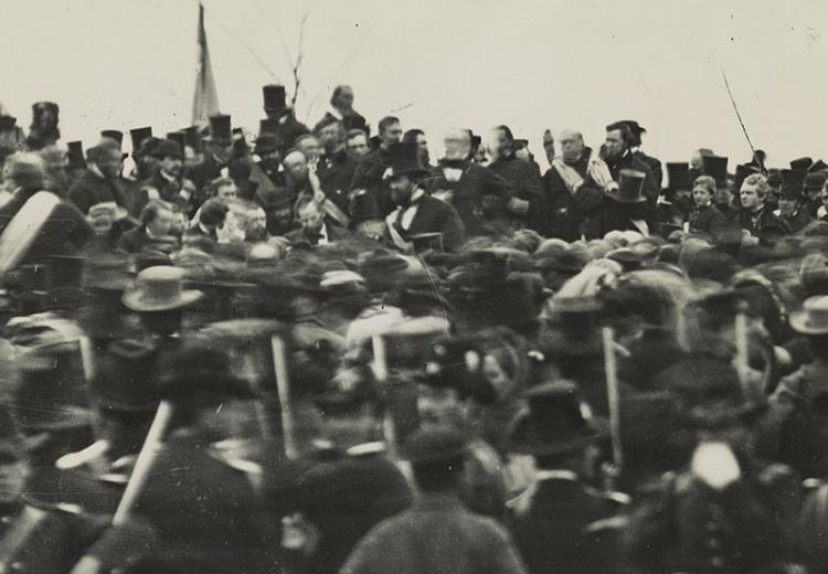 Photo of Lincoln at Gettysburg dedication