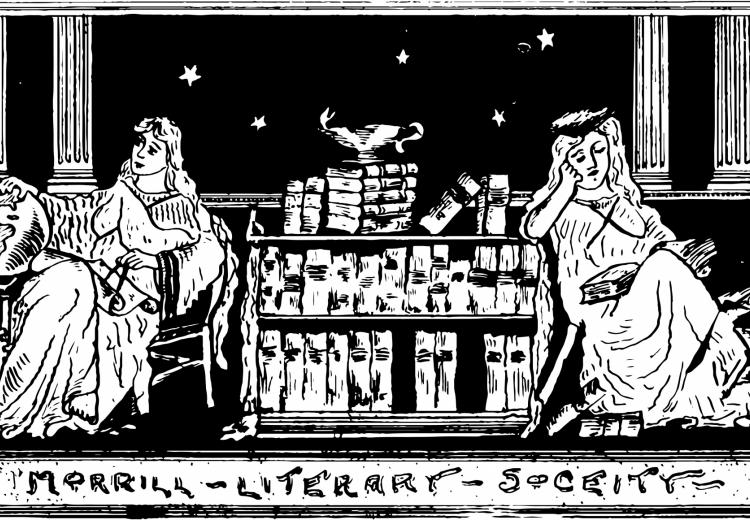 "Illustration of two women reading with banner ""Literary Society"" below the image."
