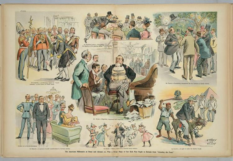 Vignette Cartoon of the American millionaire at home and abroad. He is welcomed at home, but ridiculed abroad.