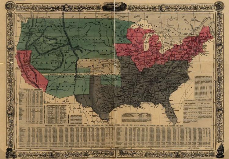 Political map of the United States, designed to exhibit the comparative area of the free and slave states and the territory open to slavery or freedom by the repeal of the Missouri Compromise.