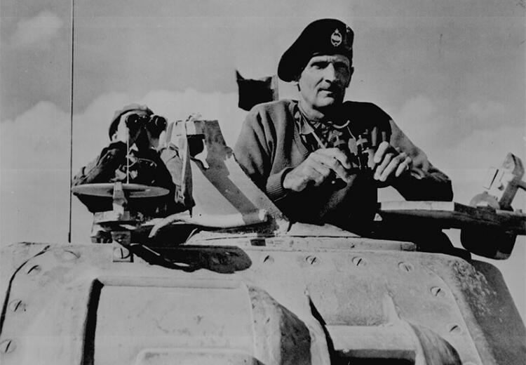 General Bernard L. Montgomery watches his tanks move up