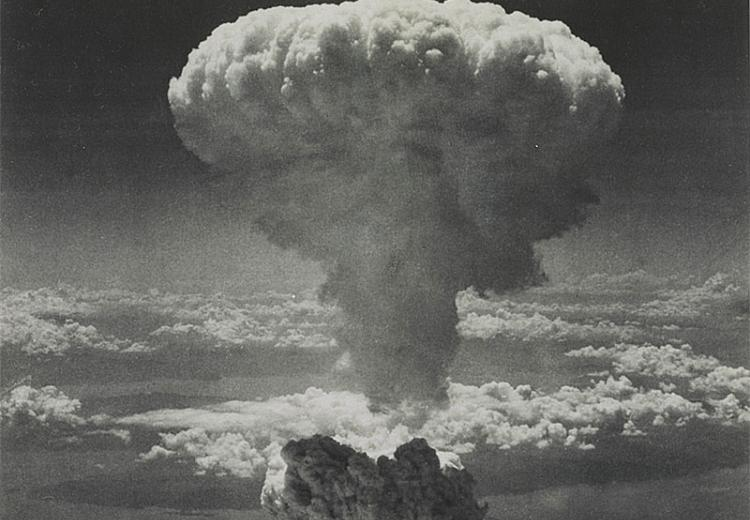The dropping of an atomic bomb on the Japanese city of Nagasaki