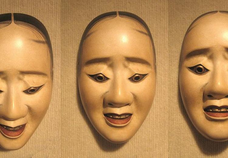 "Three pictures of the same Noh ""hawk mask"" showing how the expression changes with a tilting of the head"