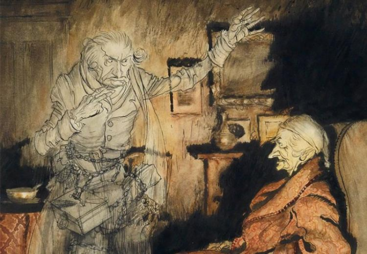 Scrooge and the Ghost of Marley by Arthur Rackham.