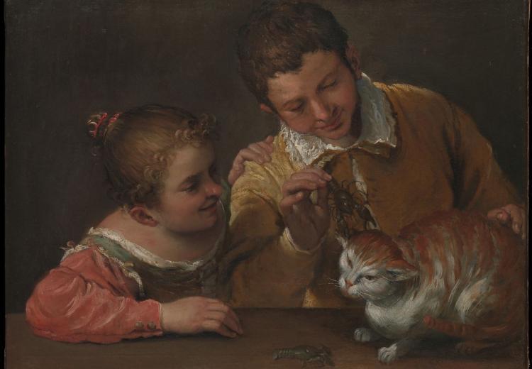 """Two Children Teasing a Cat"" by Annibale Carracci (1590)."